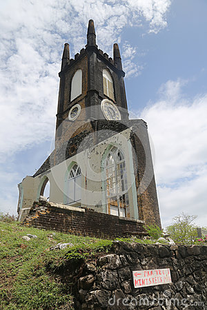 Free Scots Kirk Clock And Bell Tower In St. George`s, Grenada. Stock Image - 94651211