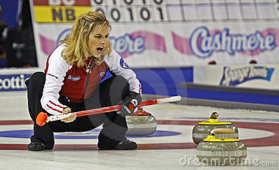 Scotties curling jennifer jones talks Editorial Stock Image