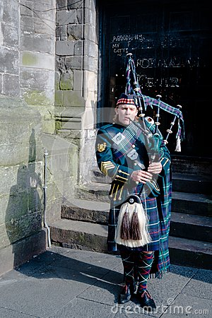 Scottish Bagpiper In Edinburgh Editorial Photo Image