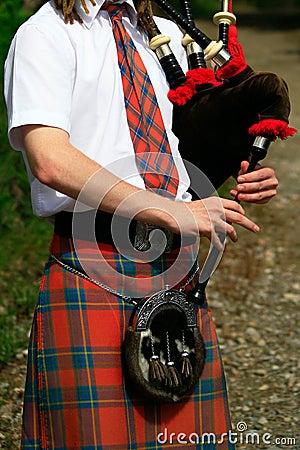 Scottish bagpipes close up