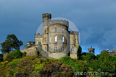 Scottish castle in storm, Edinburgh