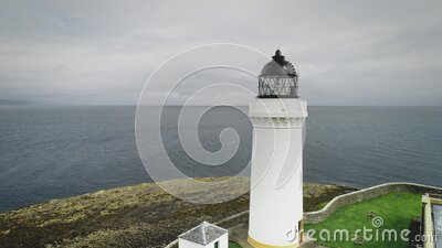 Scottish lighthouse aerial view on Davaar island stock video footage