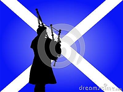 Scottish man playing bagpipes