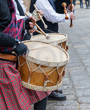Scottish Musical Band- Detail Editorial Stock Photo