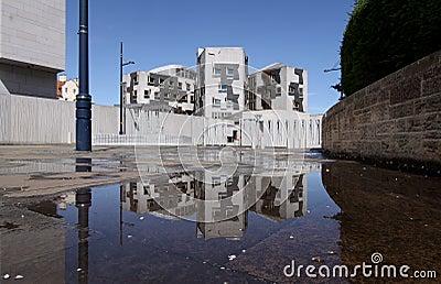 Scottish Parliament Rainpool Reflection
