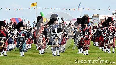 Scottish Pipes parade at Nairn Highland Games Editorial Image