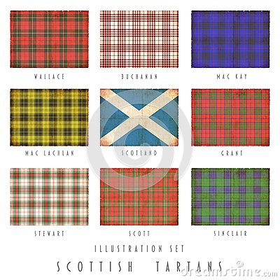 Scottish tartans in grunge design