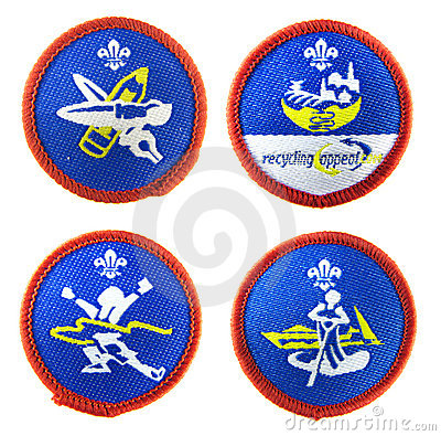 Scout badges set Editorial Stock Photo