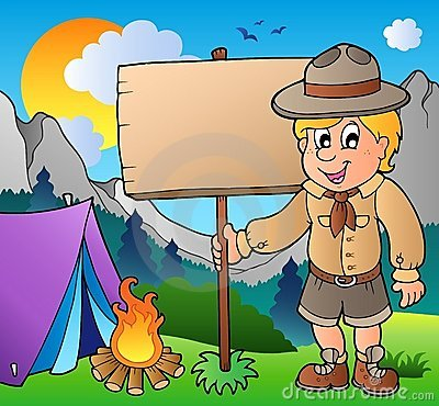 Scout boy holding board outdoor