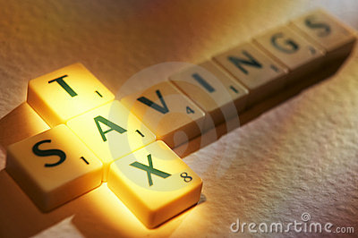 Scrabble letters spelling tax savings