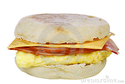 Scrambled egg sandwich on an english muffin