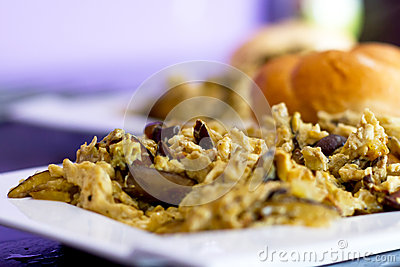 Scrambled eggs with forest mushrooms for breakfast