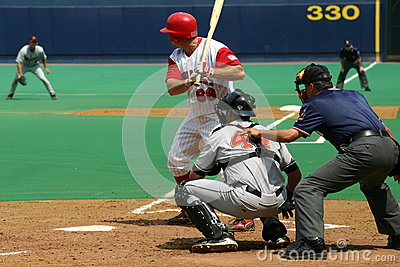 Scranton Wilkes Barre Red Barons batter Jim Rushford swings at a pitch Editorial Stock Photo