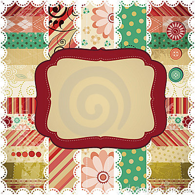 Scrap background with a rectangular frame.