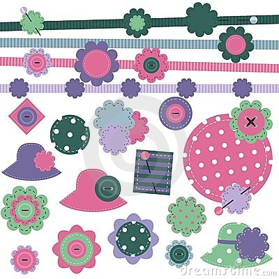 Scrap booking set of objects on white