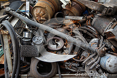 Scrap metal, old car parts