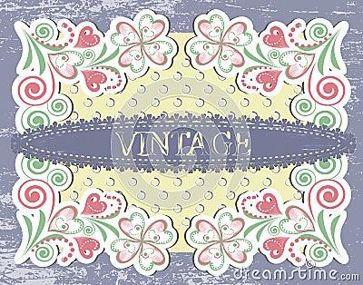 Scrap vintage frame on floral grange background