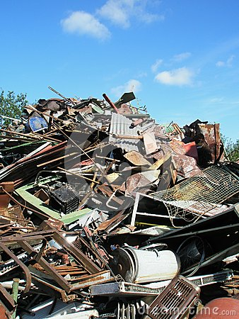 Scrap yard used metal waste