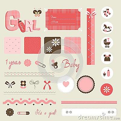 Scrapbook baby set - girl
