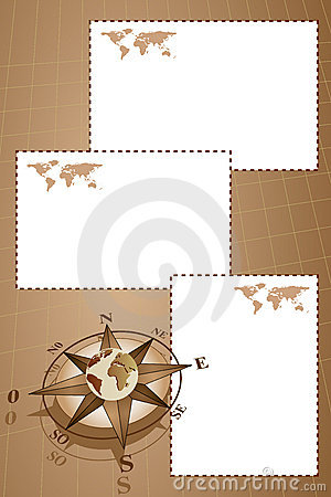 Scrapbook with compass rose and map world