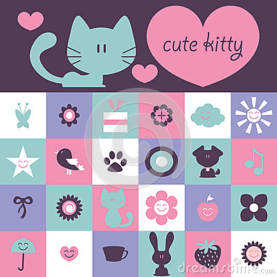 Scrapbook design cute various elements