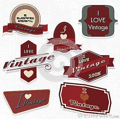 Scrapbook design elements i love vintage set