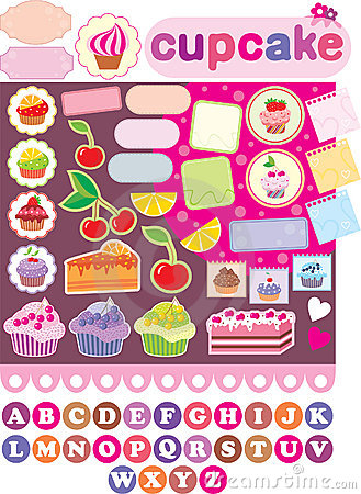Scrapbook elements with cupcakes.