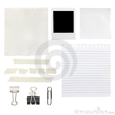 Scrapbook elements including papers and a photo