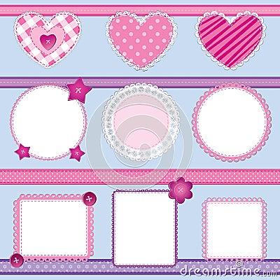 Scrapbook elements pink - set 2