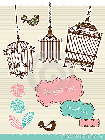 Scrapbook elements with vintage birdcage