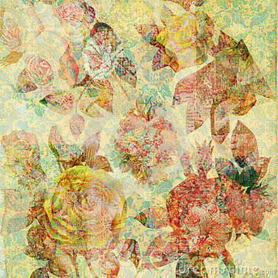 Free Scrapbook Floral Collage Background Royalty Free Stock Image - 5546606