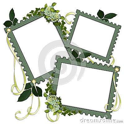 Scrapbook page green floral frames