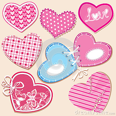 Scrapbook set of hearts in stitched textile style