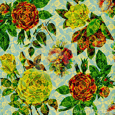 Scrapbook vintage floral collage Background