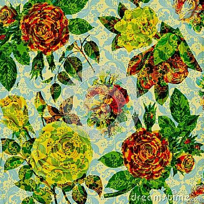 Scrapbook vintage floral collage Background