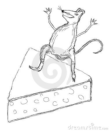 A scratch of a mouse on a cheese