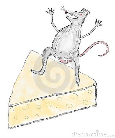 A scratch of a mouse on a piece of cheese
