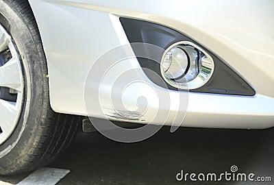 Scratched car front bumper
