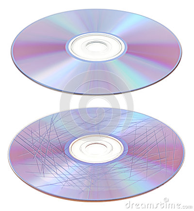 Scratched and clean CD or DVD