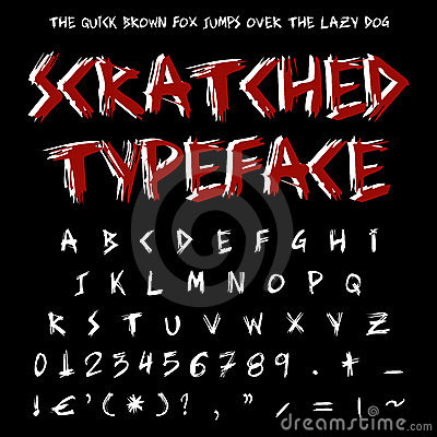 Scratched typeface