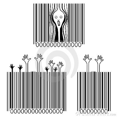 The scream, consumerism victims, creative barcodes