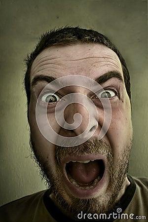 Scream of shocked scared man