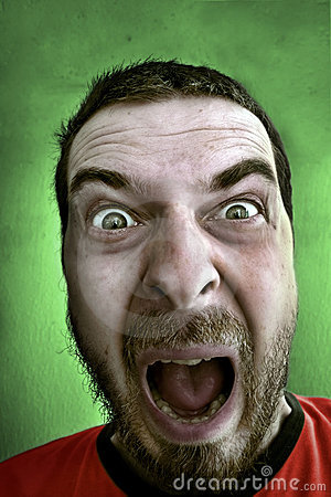Scream of shocked spooky man