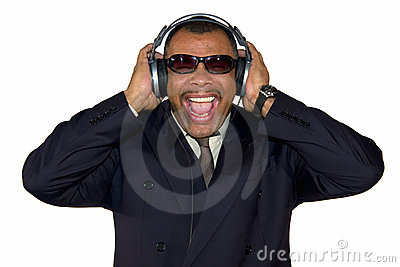 A screaming African-American man with headphones