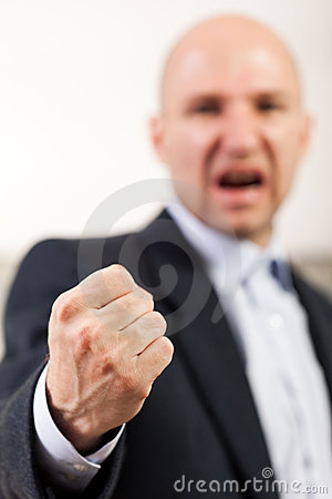 Screaming angry men fist