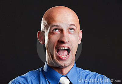 Screaming bald man