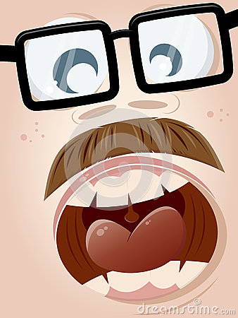 Screaming cartoon face