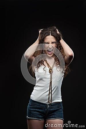 Screaming casual girl