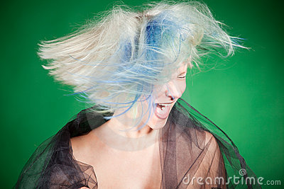 Screaming crazy girl with platinum hair