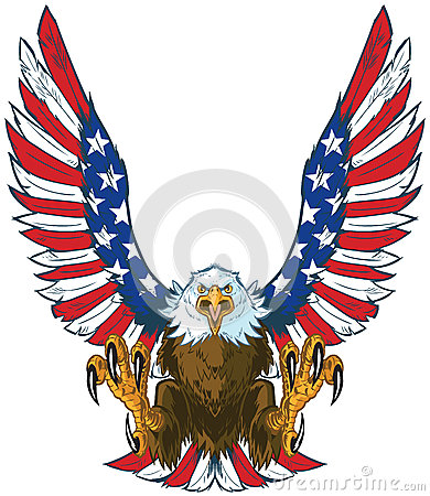 Free Screaming Eagle With American Flag Wings Vector Clip Art Stock Photo - 65439990